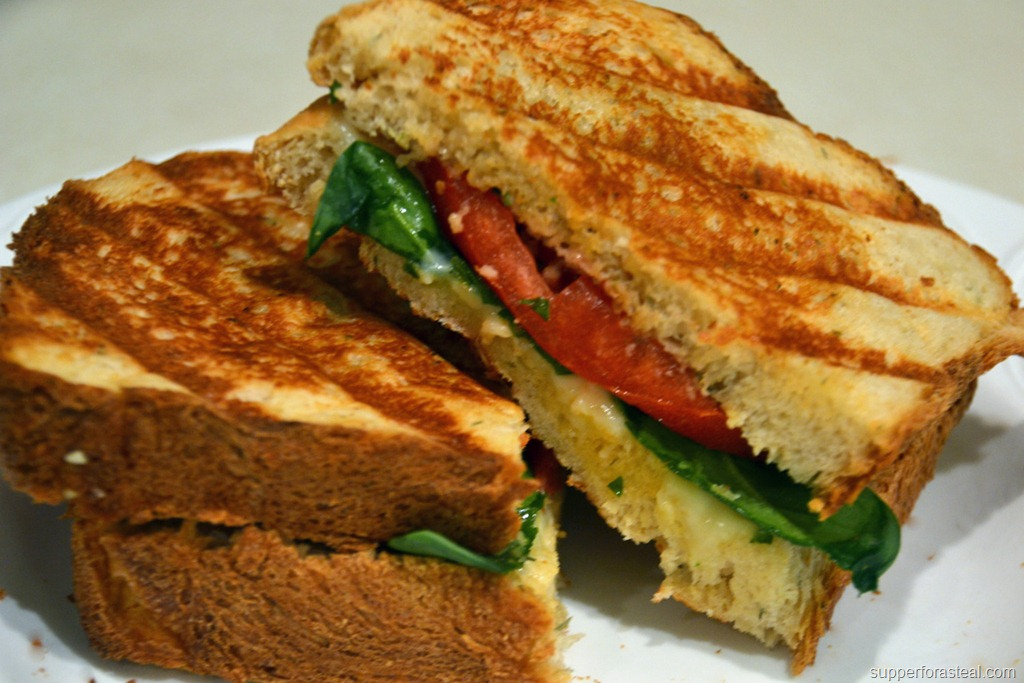 Spinach, Tomato, and Pesto Grilled Cheese - Supper for a Steal
