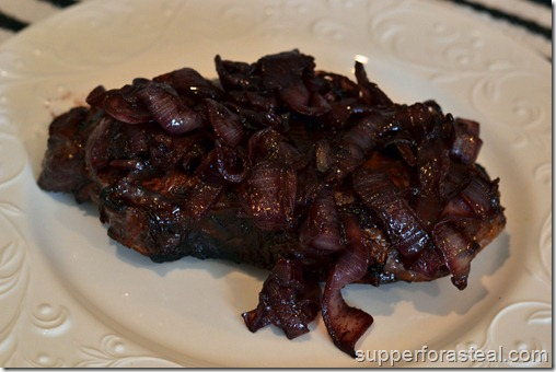 London Broil w Drunken Onions - Supper for a Steal