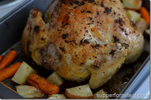 Garlic Lemon Roasted Chicken - Supper for a Steal
