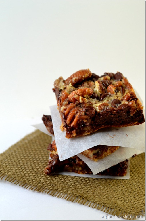 Chocolate Pecan Pie Bars - Supper for a Steal