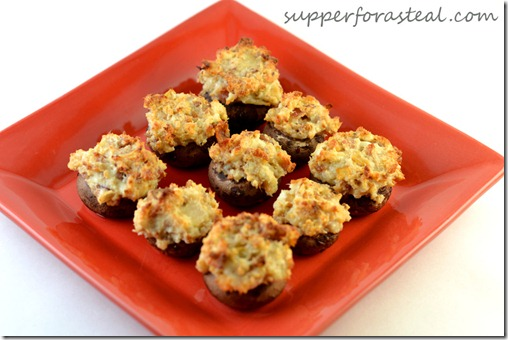 Blue Cheese and Bacon Stuffed Mushrooms - Supper for a Steal
