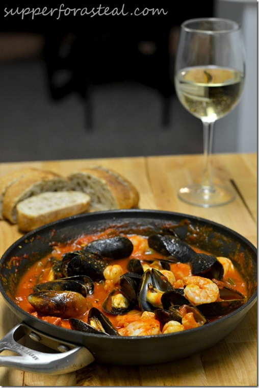 Portuguese Mussels and Shrimp in Chorizo Sauce -- Supper for a Steal