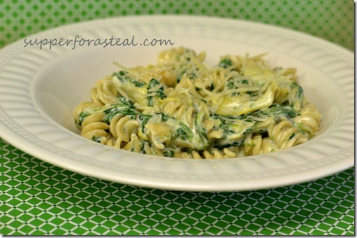 Spinach Artichoke Pasta -- Supper for a Steal