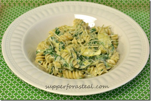 Spinach Artichoke Pasta - Supper for a Steal