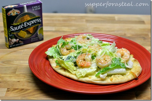 Individual Shrimp Caesar Salad Pizzas - Supper for a Steal