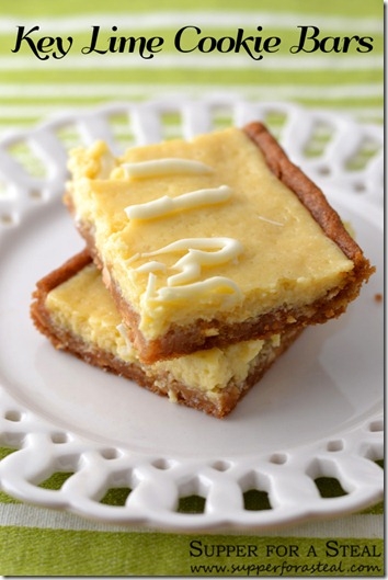Key Lime Cookie Bars - Supper for a Steal