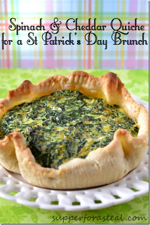 Spinach and Cheddar Quiche for St Patrick's Day Brunch | #SundaySupper - Supper for a Steal