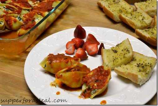 Spinach and Ricotta Stuffed Shells - Supper for a Steal