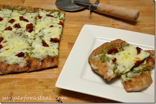 Sundried Tom & Pesto Grilled Pizza - Supper for a Steal
