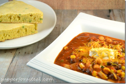 Three Bean Vegetarian Chili -- Supper for a Steal