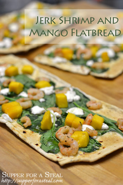 Jerk Shrimp and Mango Flatbread - Supper for a Steal