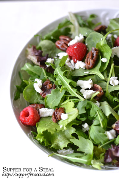 Candied Pecans, Goat Cheese, and Raspberry Salad , Raspberry Balsamic Vinaigrette