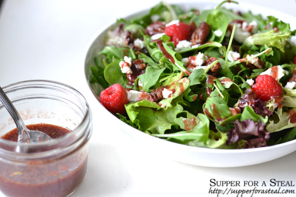 Candied Pecans, Goat Cheese, and Raspberry Salad w Raspberry Balsamic Vinaigrette