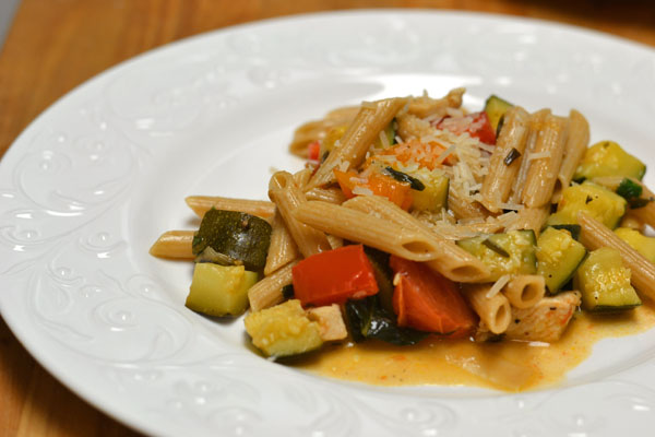 Grilled Chicken and Garden Vegetable Pasta - Supper for a Steal