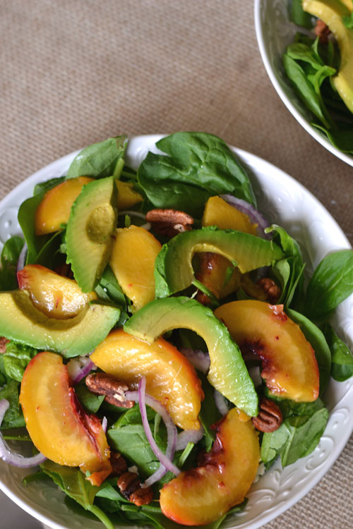 Grilled Peach and Avocado Spinach Salad - Supper for a Steal