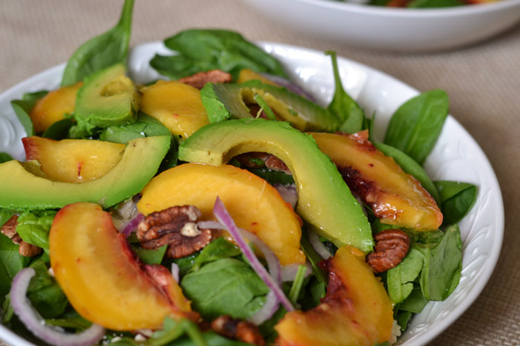Grilled Peach and Avocado Spinach Salad